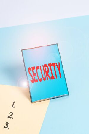 Writing note showing Security. Business concept for The state of feeling safe stable and free from fear or danger