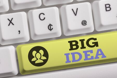 Word writing text Big Idea. Business photo showcasing Having great creative innovation solution or way of thinking White pc keyboard with empty note paper above white background key copy space
