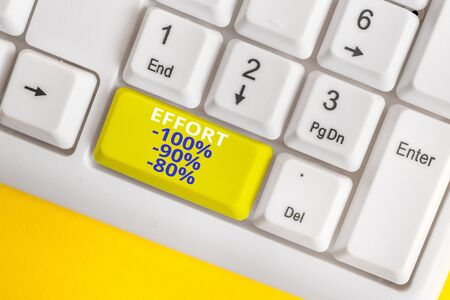 Writing note showing Effort 100 Percent 90 Percent 80 Percent. Business concept for Level of determination discipline motivation White pc keyboard with note paper above the white background
