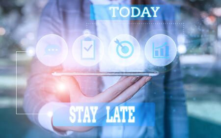 Text sign showing Stay Late. Business photo showcasing A routine in which a demonstrating goes to somewhere out of time Female human wear formal work suit presenting presentation use smart device