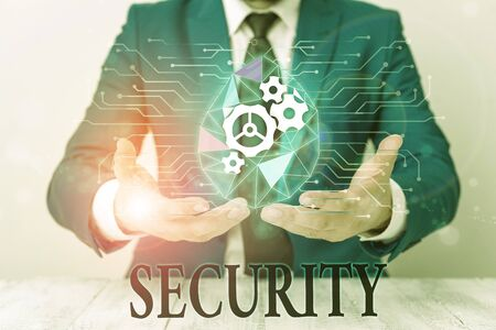 Writing note showing Security. Business concept for The state of feeling safe stable and free from fear or danger Male human wear formal suit presenting using smart device