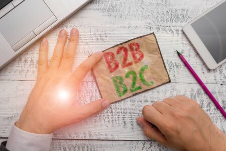 Handwriting text B2B B2C. Conceptual photo two types for sending emails to other showing Outlook accounts