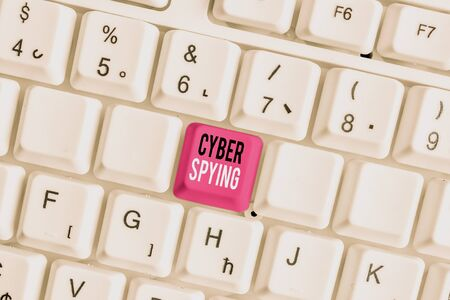 Handwriting text writing Cyber Spying. Conceptual photo form of cyber attack that steals classified or sensitive data White pc keyboard with empty note paper above white background key copy space
