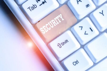 Writing note showing Security. Business concept for The state of feeling safe stable and free from fear or danger White pc keyboard with note paper above the white background