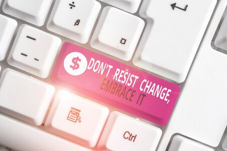 Writing note showing Don T Resist Change Embrace It. Business concept for Be open to changes try new things positive White pc keyboard with note paper above the white background Stockfoto