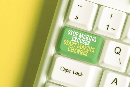 Conceptual hand writing showing Stop Making Excuses Start Making Changes. Concept meaning Do not give an excuse Act instead White pc keyboard with note paper above the white background