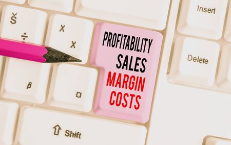 Handwriting text writing Profitability Sales Margin Costs. Conceptual photo Business incomes revenues Budget earnings White pc keyboard with empty note paper above white background key copy space