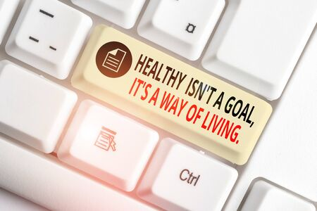 Handwriting text writing Healthy Isn T A Goal It S A Way Of Living. Conceptual photo Create good habits routines White pc keyboard with empty note paper above white background key copy space
