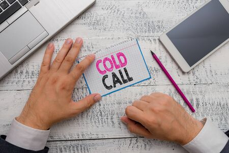 Conceptual hand writing showing Cold Call. Concept meaning Unsolicited call made by someone trying to sell goods or services