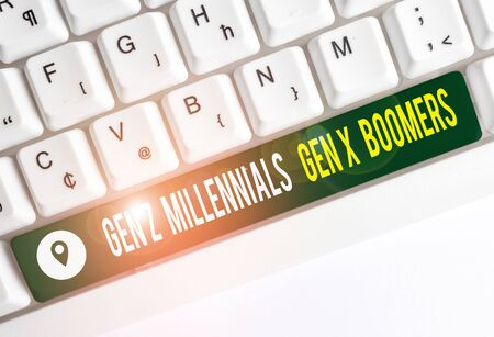 Text sign showing Gen Z Millennials Gen X Boomers. Business photo text Generational differences Old Young showing White pc keyboard with empty note paper above white background key copy space