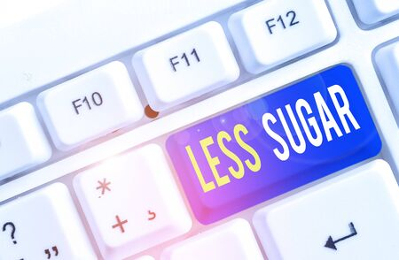 Text sign showing Less Sugar. Business photo showcasing Lower volume of sweetness in any food or drink that we eat White pc keyboard with empty note paper above white background key copy space