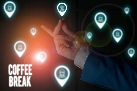 Text sign showing Coffee Break. Business photo showcasing short time when you stop working to have a cup of coffee Male human wear formal work suit presenting presentation using smart device