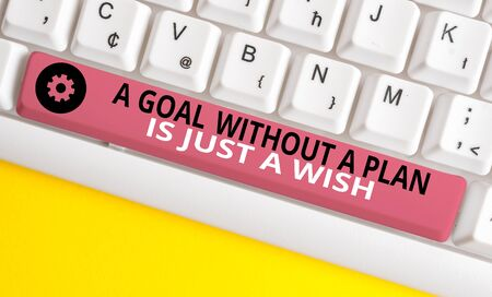 Conceptual hand writing showing A Goal Without A Plan Is Just A Wish. Concept meaning Make strategies to reach objectives White pc keyboard with note paper above the white background 写真素材