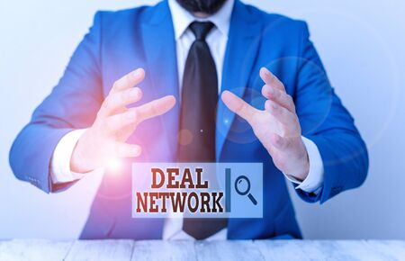 Handwriting text writing Deal Network. Conceptual photo platform for secure document sharing and collaboration Man holds empty paper with copy space in front of him Space