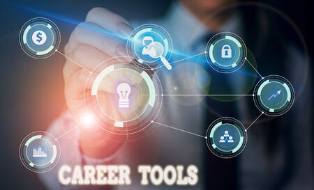 Handwriting text writing Career Tools. Conceptual photo the system designed to assist and enhance your career Woman wear formal work suit presenting presentation using smart device