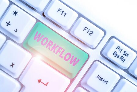 Word writing text Workflow. Business photo showcasing Continuity of a certain task to and from an office or employer White pc keyboard with empty note paper above white background key copy space