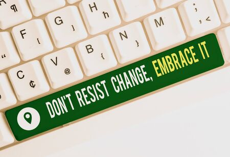 Text sign showing Don T Resist Change Embrace It. Business photo text Be open to changes try new things positive White pc keyboard with empty note paper above white background key copy space Stok Fotoğraf