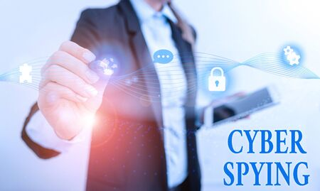 Handwriting text writing Cyber Spying. Conceptual photo form of cyber attack that steals classified or sensitive data Female human wear formal work suit presenting presentation use smart device