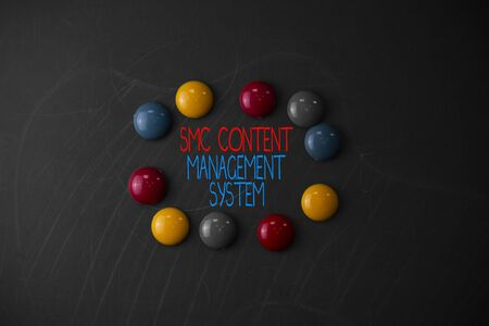 Conceptual hand writing showing Smc Content Management System. Concept meaning analysisgae creation and modification of posts Round Flat shape stones with same sizes stick black board