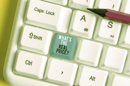 Conceptual hand writing showing What S The Real Price Question. Concept meaning Give actual value of property or business White pc keyboard with note paper above the white background