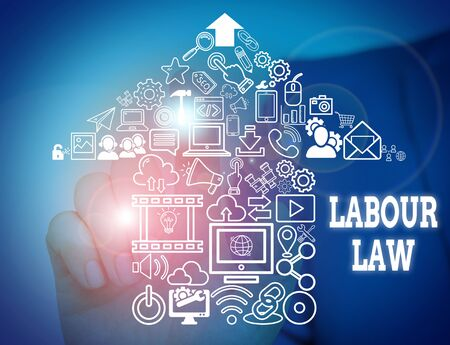 Conceptual hand writing showing Labour Law. Concept meaning Rules implemented by the state between employers and employee Male wear formal suit presenting presentation smart device