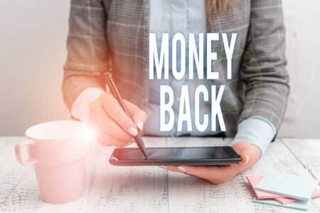 Writing note showing Money Back. Business concept for get what you paid in return for defect or problem in product Business woman sitting with mobile phone and cup of coffee on the table Фото со стока