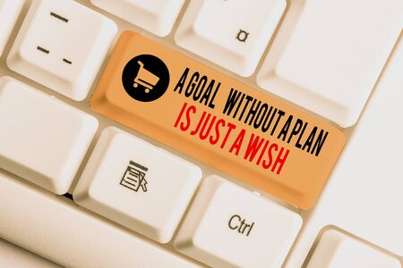 Text sign showing A Goal Without A Plan Is Just A Wish. Business photo showcasing Make strategies to reach objectives White pc keyboard with empty note paper above white background key copy space Фото со стока - 131365065