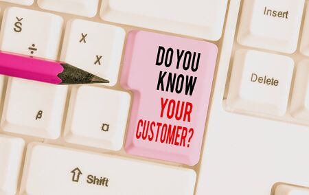 Handwriting text writing Do You Know Your Customer Question. Conceptual photo Have into account client likes opinion White pc keyboard with empty note paper above white background key copy space