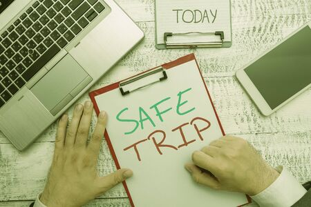 Text sign showing Safe Trip. Business photo showcasing wishing someone to reach his destination in good health