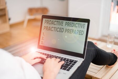 Handwriting text writing Proactive Predictive Practiced Prepared. Conceptual photo Preparation Strategies Management woman laptop computer office supplies technological devices inside home 版權商用圖片