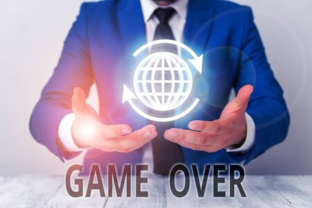 Text sign showing Game Over. Business photo showcasing A situation in a particular sport that reach his finals or ending Imagens