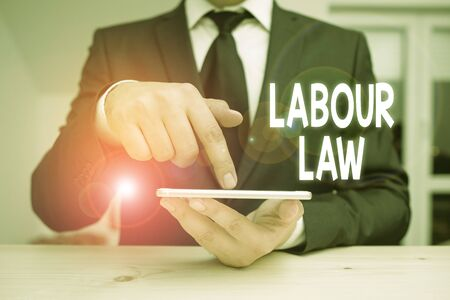 Writing note showing Labour Law. Business concept for Rules implemented by the state between employers and employee