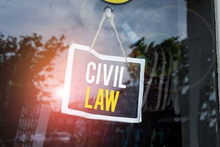 Text sign showing Civil Law. Business photo text Law concerned with private relations between members of community Empty black board with copy space for advertising. Blank dark board