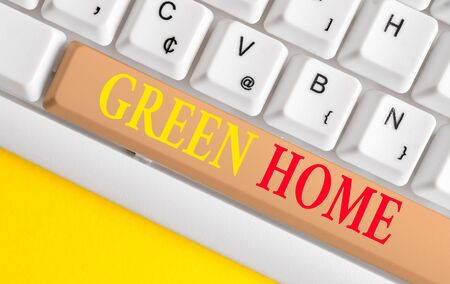 Conceptual hand writing showing Green Home. Concept meaning An area filled with plants and trees where you can relax White pc keyboard with note paper above the white background Stok Fotoğraf