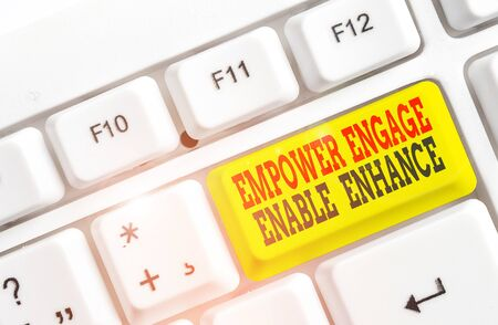 Conceptual hand writing showing Empower Engage Enable Enhance. Concept meaning Empowerment Leadership Motivation Engagement White pc keyboard with note paper above the white background