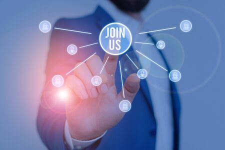 Writing note showing Join Us. Business concept for Register in community Team or blog Sign up at social media Male wear formal work suit presenting presentation smart device Stock fotó