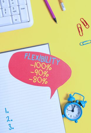 Conceptual hand writing showing Flexibility 100 Percent 90 Percent 80 Percent. Concept meaning How much flexible you are maleability level Empty red bubble paper on the table with pc keyboard