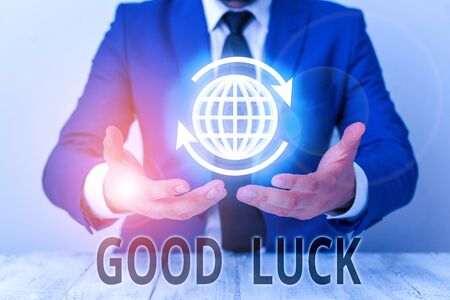 Text sign showing Good Luck. Business photo showcasing A positive fortune or a happy outcome that a demonstrating can have