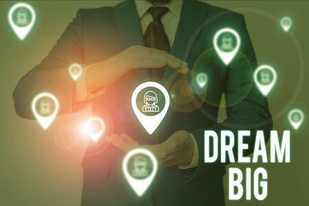 Word writing text Dream Big. Business photo showcasing To think of something high value that you want to achieve Male human wear formal work suit presenting presentation using smart device