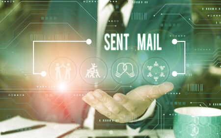 Text sign showing Sent Mail. Business photo showcasing Event where a letter to be taken somewhere or goes to the receiver Male human wear formal work suit presenting presentation using smart device