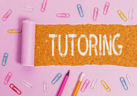 Handwriting text writing Tutoring. Conceptual photo An act of a demonstrating employed to administer knowledge to someone Stok Fotoğraf