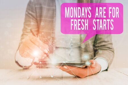 Word writing text Mondays Are For Fresh Starts. Business photo showcasing Begin again every week have a good morning Female human wear formal work suit presenting presentation use smart device
