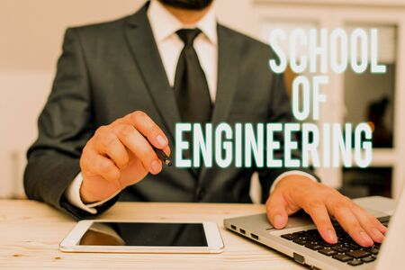 Handwriting text writing School Of Engineering. Conceptual photo college to study mechanical communication subjects