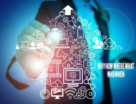 Writing note showing Why How Where What Who When. Business concept for Questions to find solutions Query Asking Woman wear formal work suit presenting presentation using smart device Stock Photo