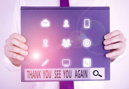 Text sign showing Thank You See You Again. Business photo text Appreciation Gratitude Thanks I will be back soon Male human holding thick textured cardboard of business promotion concept Stock fotó