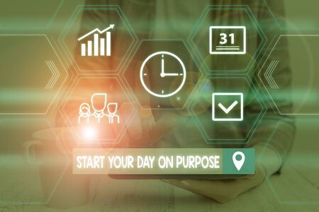 Word writing text Start Your Day On Purpose. Business photo showcasing Have clean ideas of what you are going to do Woman wear formal work suit presenting presentation using smart device