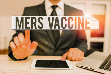 Text sign showing Mers Vaccine. Business photo text get dose to improve immunity to viral respiratory disease 免版税图像