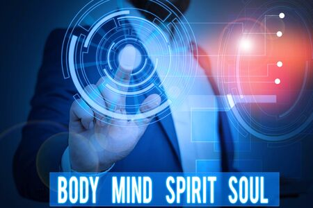 Handwriting text writing Body Mind Spirit Soul. Conceptual photo Personal Balance Therapy Conciousness state of mind Male human wear formal work suit presenting presentation using smart device