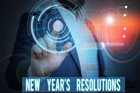 Handwriting text writing New Year S Resolutions. Conceptual photo Wishlist List of things to accomplish or improve Male human wear formal work suit presenting presentation using smart device Stock Photo
