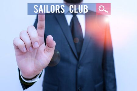 Handwriting text Sailors Club. Conceptual photo an organization constituted to a demonstrating who goes sailing Foto de archivo